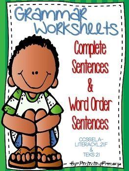 No Prep Complete Sentences & Word Order Worksheets