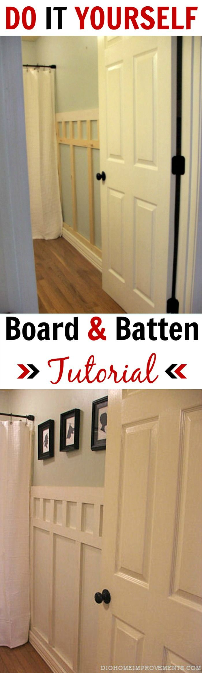 Wood baseboard in bathroom - Boys Bathroom Decor Guest Bathrooms Bathroom Wall Downstairs Bathroom Board And Batten Moulding Wainscoting Diy Projects House Projects