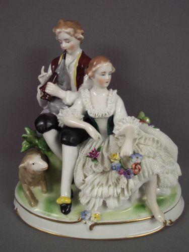 Antique Unterweissbach German Porcelain Dresden Lace Lady Lamb Group Figurine