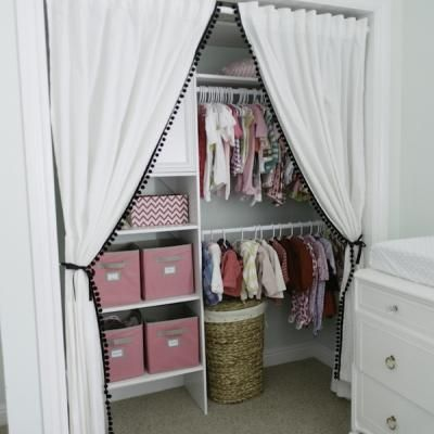 Stylish Children's Closet {Closets} :Both the window and closet drapes I bought at Ikea and embellished with grosgrain ribbon and pom pom tri