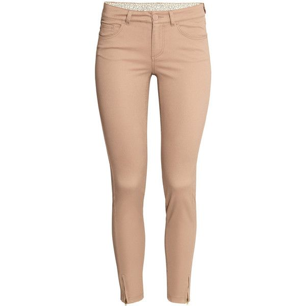 H&M Superstretch trousers ($31) ❤ liked on Polyvore featuring pants, jeans, bottoms, calça, trousers, beige, h&m trousers, ankle zip jeans, ankle jeans and ankle trousers
