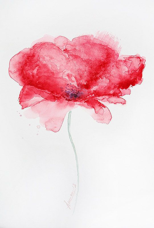 Original Watercolor Painting Abstract Flower by PabloXart
