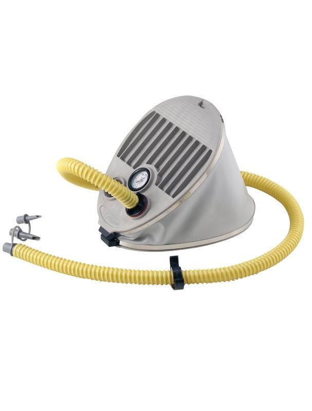 BRAVO 7M - GAUGE 5L Bravo 7 #foot_pump allows for a maximum of 5.8 psi. Made from reinforced fabric coated bellows and has all stainless steel metal parts. UV resistant and comes complete with a reinforced hose and 7 universal valve adapters.