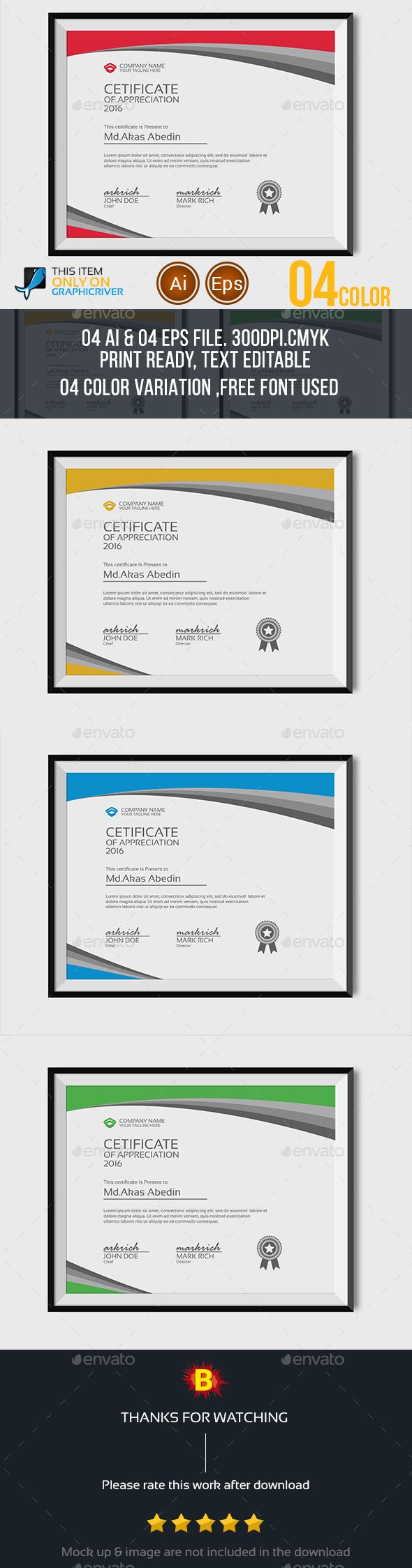 7 best awards template images on pinterest certificate templates certificate template vector eps ai download here httpgraphicriver yadclub Gallery