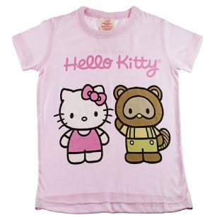 Hello Kitty Toddlers Short Sleeve T- Shirt-Pink - She'll be comfy and cozy with this Hello Kitty T-shirt made of soft cotton