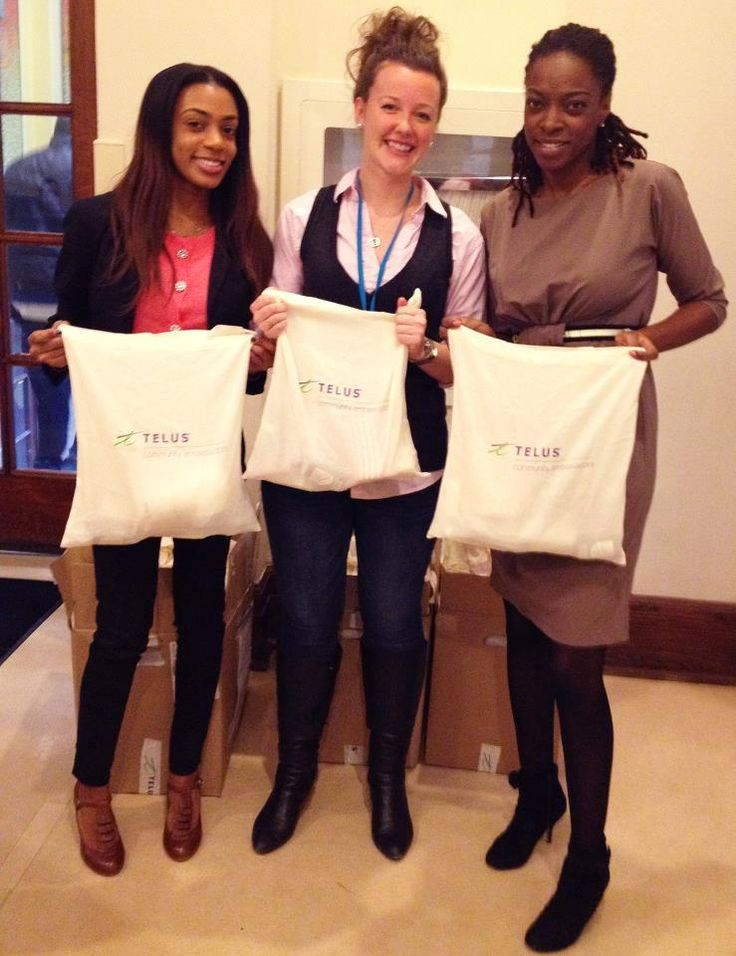 """TELUS just dropped by with some """"comfort kits"""" for our kids containing towels and toiletries. Thank you so much!"""