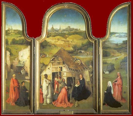 Jheronimus Bosch ca. 1450 – 1516     The Adoration of the Magi     oil on panel (138 × 144 cm) — 1485-1500 Museo del Prado, Madrid     Jheronimus Bosch biography     This work is linked to Matthew 2:11