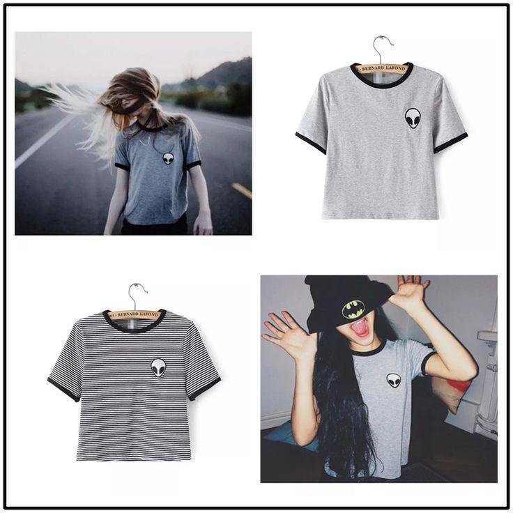 Aliexpress.com: Comprar Underwear mujeres Hipster Harajuku lindo Kawaii raya de la corto manga Camisetas mejor amigo corta camiseta extraterrestre bordado de la camiseta de Camisetas de música fiable proveedores en KIKIMOLY