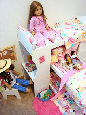 American Girl Doll Play: Our Doll Play Area - The Doll Bedroom. So many ideas!
