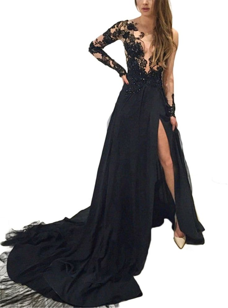 SDRESS Women's Beaded Appliques Scoop Long Sleeve Side Slit Formal Evening Dress at Amazon Women's Clothing store: