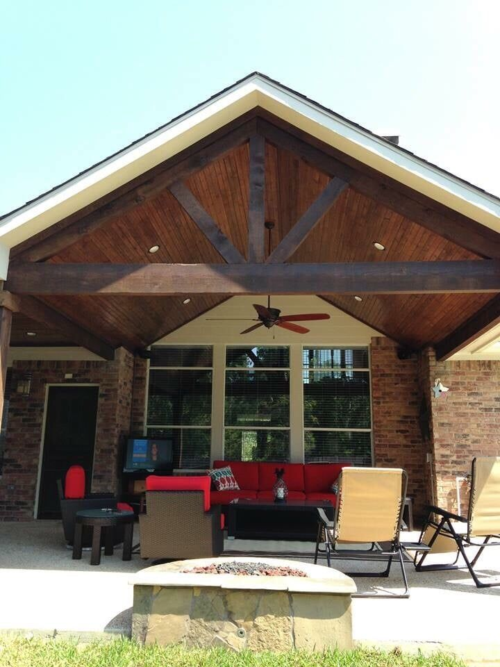 gable roof patio cover attached to existing house with cedar beams and posts and wood stained ceiling - How To Attach A Patio Roof To An Existing House