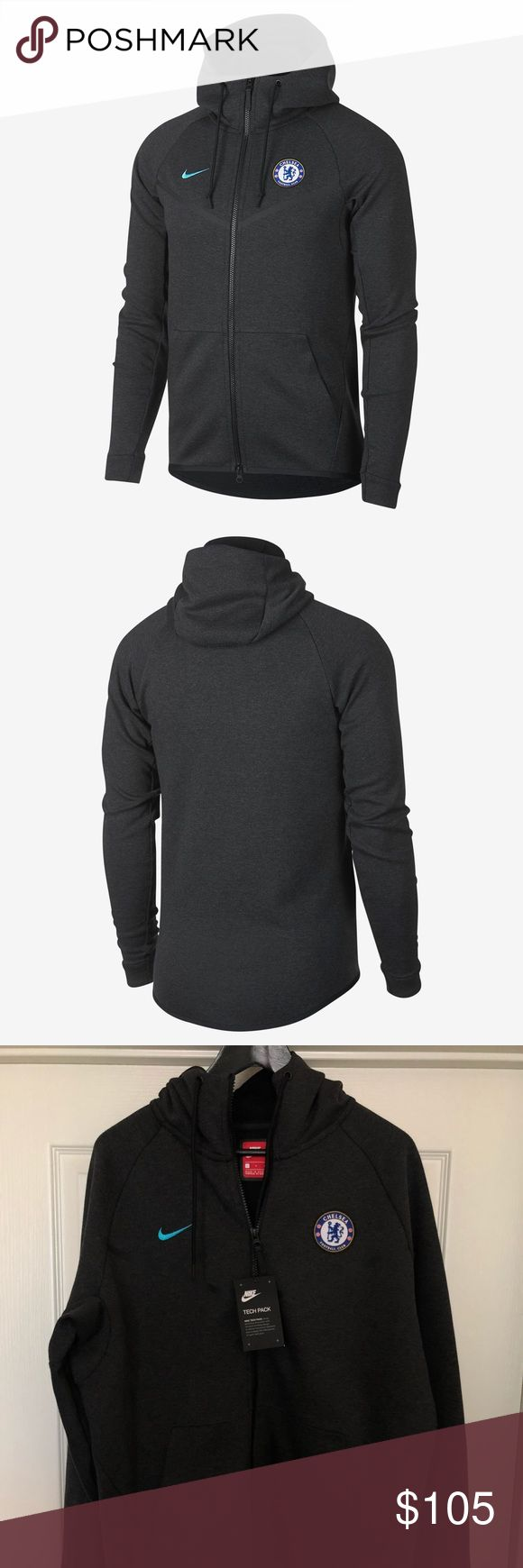 MENS NIKE CHELSEA FC TECH FLEECE WINDRUNNER | NEW ☑️ Item is brand with tags.        ✔️ Style: AA1928 (Windrunner Jacet)       ✔️ Color Code: 036 (Black Heather)       ✔️ Retail: $145       ✔️ Fabric: 66% Cotton | 34% Polyester   ☑️ Will ship out within 24 hours.  ❌ No transactions outside of Posh  🔘 All my inventory in posh comes from my eBay store page, (cross listed) so prices are competitive with that platform as well.  🔘 Stores.ebay.com/premiumlacesthreads Nike Jackets & Coats