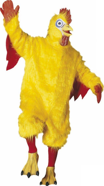 Déguisement mascotte poulet adulte : Ce costume de poulet pour adulte comprend une combinaison, des gants, des chausses, des chaussettes et un masque.La combinaison est en fausse fourrure de couleur jaune et évoque le plumage du...