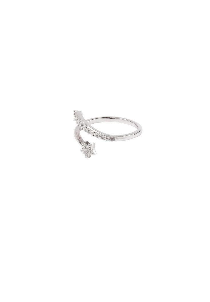 Shooting star adjustable ring with cubic zirconia diamante.