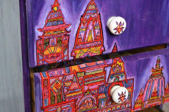 Bedside Cabinet - Painted furniture - Indian Hindu Temple design - Bedroom furniture 10% OFF SALE