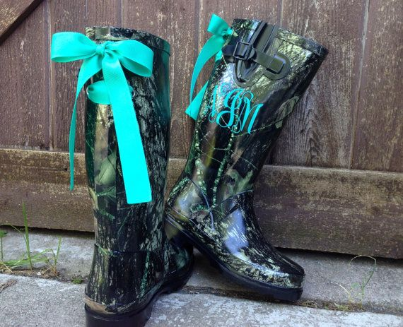 Black Camo Rain Boots with Custom Bows and Monogram on Etsy, $98.00