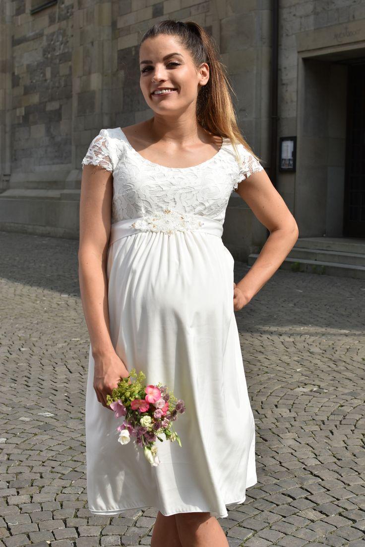 Umstands-Seidenkleid mit Spitze   Brautmode, Braut, Kleid