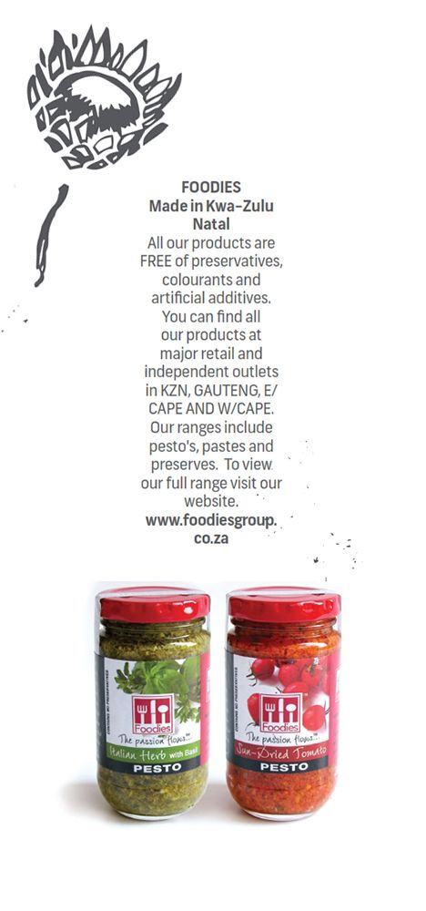 FOODIES - Made in #KwaZuluNatal  All our products are free of preservatives, colourants and artificial additives. You can find all our products at major retail and independent outlets in #KZN, #Gauteng, #EasternCape, #WesternCape. Our ranges include pesto's, pastes and preserves. To view our full range visit our website.