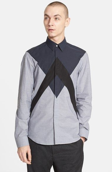 KENZO+'Peak'+Extra+Trim+Fit+Zigzag+Colorblock+Woven+Shirt+available+at+#Nordstrom