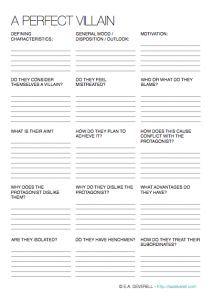 Mwahahaha! Use this #writing worksheet to craft the perfect villain. >