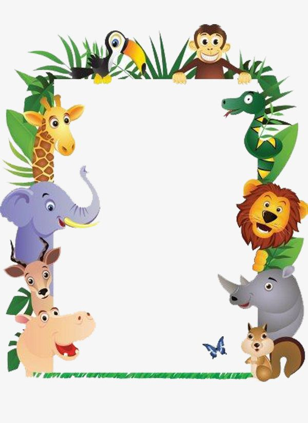 animal picture frames  monkey  elephant  rhinoceros png