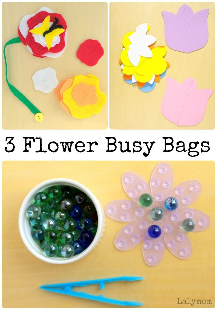 14 Spring Busy Bags from the Busy Bags Blog Hop- 3 Flower Busy Bags. Click through to see all of this month's SPRING themed busy bags ideas!