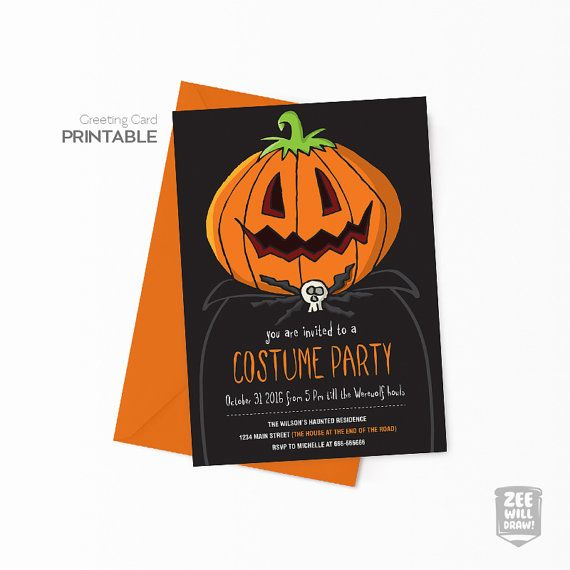 28 best greeting cards images on pinterest greeting cards zombies costume party card kids party halloween party by zeewilldraw bookmarktalkfo Image collections