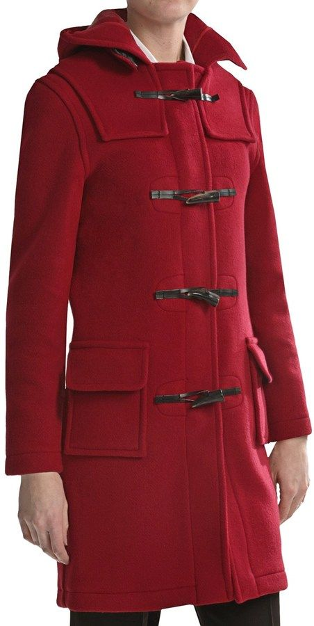 $153, Red Duffle Coat: Modelcurrentbrandname Montgomery By John Partridge Classic Duffle Coat Wool. Sold by Sierra Trading Post. Click for more info: https://lookastic.com/women/shop_items/146555/redirect