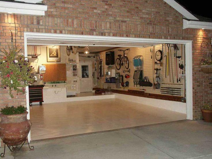 Garage Ceramic Tile With Miraculous Hanging Storage And Sleek Flooring White Frame Door