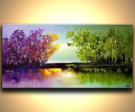 Pintura a medida. Pintura similar se creará. Marco de tiempo para crearla es de 5 días. Nombre de la pintura: El río de bendiciones Tamaño total: 48 x 24 x1.5 Colores: Azul claro, lavanda, púrpura, rosado, anaranjado, amarillo, verde, verde limón, marrón oscuro, azul Medio: Acrílico sobre lienzo envuelto, espátula La pintura estará lista para colgar (hardware y colgante instrucción serán suministrados). Se pintó sobre un lienzo envuelto con una espátula. El lienzo será libre de grapas la...