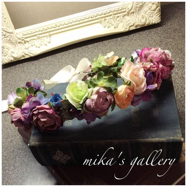 minne(ミンネ)| アンティーカラー花冠 リストブーケとお揃い 海外ウェディング持ち込みOK 【na****様オーダー作品】