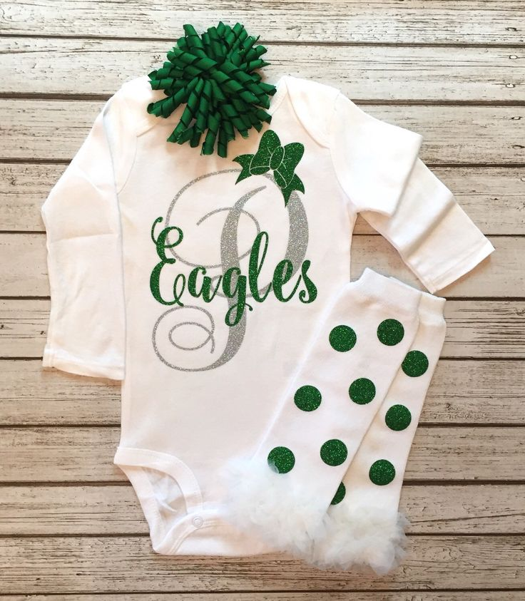 A personal favorite from my Etsy shop https://www.etsy.com/listing/250604073/eagles-football-bodysuit-baby-girl