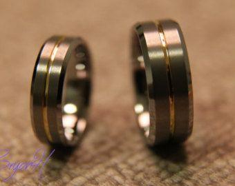 Jeu Wedding bands de tungstène Matching taille bague par BryonHshop
