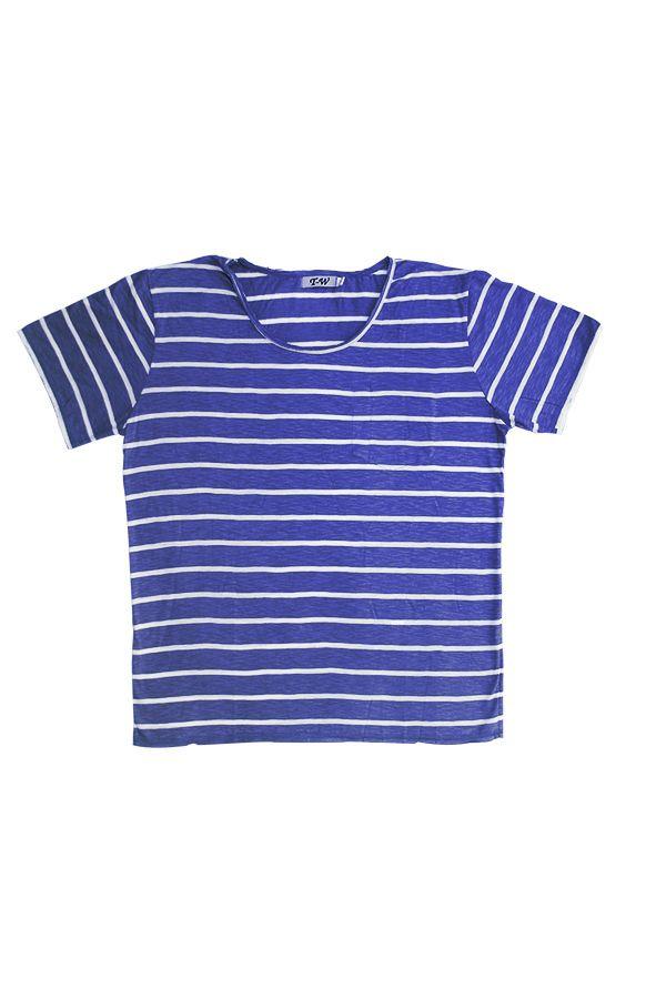 T-W Kaos Bergaris Biru dan Putih - Int:XL