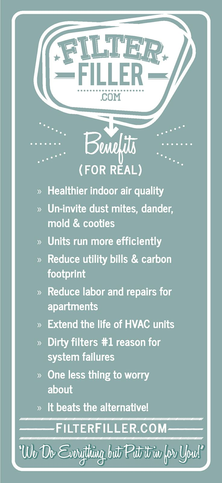 Changing your AC filters regularly can help prevent dust mites, dander, mold and cooties AND can help your AC unit cost less in electricity and repair bills