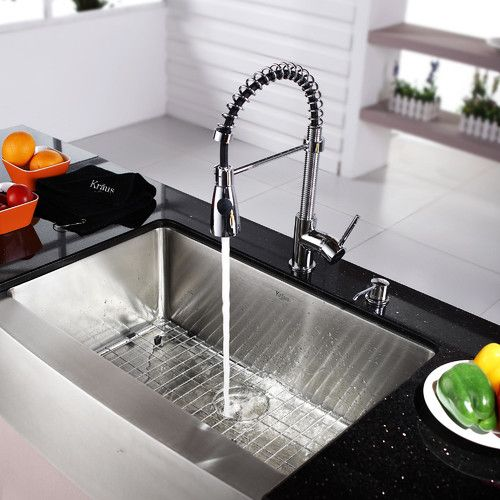 """Found it at Wayfair - Kraus 30"""" Farmhouse Stainless Steel 29.75"""" x 20"""" Kitchen Sink with Faucet and Soap Dispenser"""
