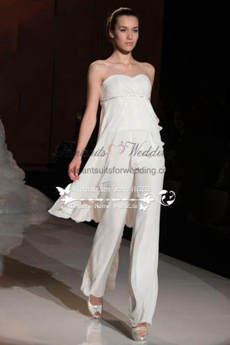 5fcb8fef2c00 Sweetheart chiffon Empire wedding jumpsuit dresses BA-065