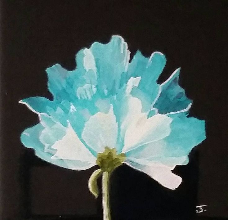 """Blue Flower  Alcohol ink on 4"""" black tile  By Jewel Buhay"""