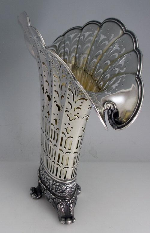 Tiffany Antique Sterling Silver Fan Shaped Pierced Vase