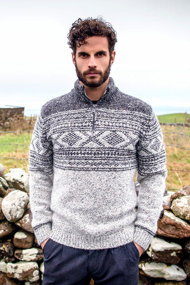 Aran jacquard pattern sweater