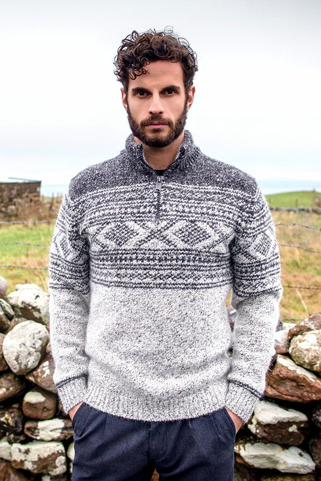 Aran jacquard pattern sweater