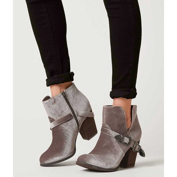 Not Rated Jibu Velvet Ankle Boot - Grey US 10 ($60) ❤ liked on Polyvore featuring shoes, boots, ankle booties, grey, ankle boots, velvet boots, grey boots, grey booties and not rated boots