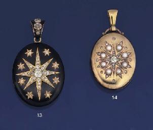 LATE 19TH CENTURY GOLD, DIAMOND AND HALF-PEARL LOCKET PENDANT