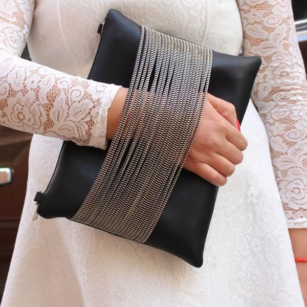 Ladies Leather-based Black Clutch Purse With Chain