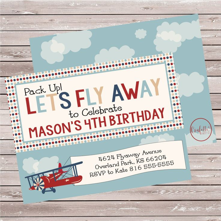 Vintage Airplane Birthday Invitation, Red Airplane Invitation, Antique Airplane Invitation, Rustic, Airplane Themed invites - SET OF 10 by ConfettiPartyCompany on Etsy