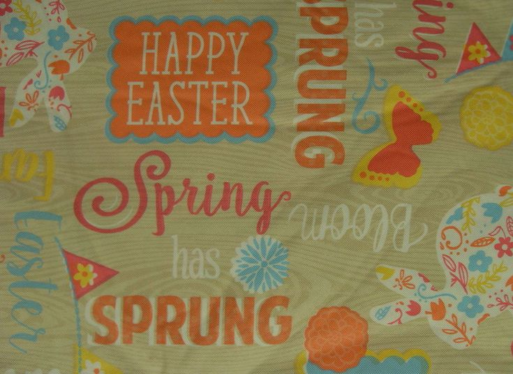 52X70 Vinyl /flannel Oblong Tablecloth Happy Easter multi-color  NANTUCKET #nantucket