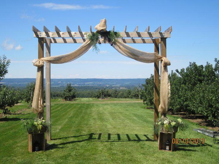 Trellis Outdoor Wedding Ceremonies: Outdoor Ceremony. Trellis Draped With Burlap/hessian