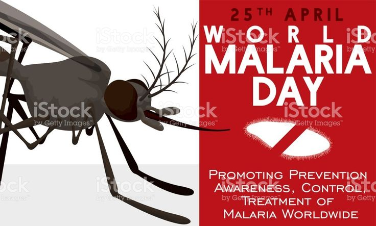 Awareness Design in World Malaria Day with Mosquito and Plasmodium