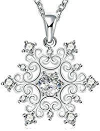 Epinki Schmuck, Damen Halskette Edelstahl Schneeflocke Blumen Form Anhänger Damenkette Silber mit Zirkonia