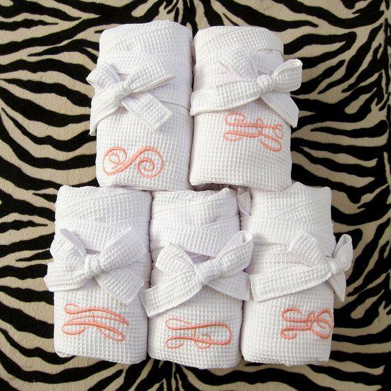 SET of 5 Monogrammed Robes - Bridesmaid Gift Waffle Robe Kimono Spa Robe Personalized Bridesmaids Gifts Personalized Robe